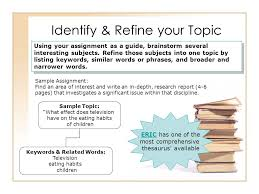 starting up your research identify refine your topic sample  identify refine your topic sample assignment an area of interest and write an