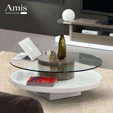 rotating coffee table creative modern minimalist circular rotating coffee table glass coffee table paint small apartment