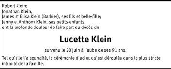 Hommages - Pour que son souvenir demeure: Lucette KLEIN