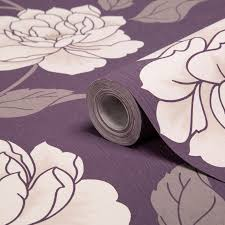 Purple Wallpaper For Bedroom Colours Ella Purple White Floral Wallpaper Floral Wallpapers