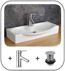 countertop bathroom sink bathroom ceramic basin 69cm x 34cm inc tap and pop up