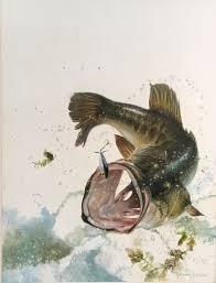 leaping bass fish painting by larry tople