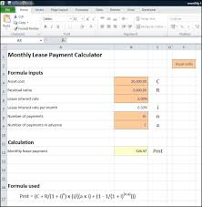 Monthly Lease Payment Calculator Plan Projections