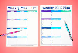 Weekly Meal Plan Sheet 012 Printable Menu Plan Two Styles Template Ideas Free