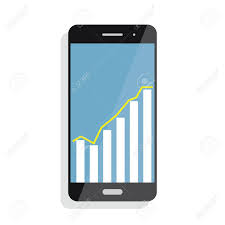 Chart Screen Smart Phone With Statistics Graph Chart Screen With Statistics