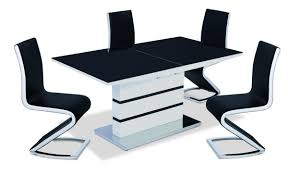 viewing aldridge high gloss dining table white with black glass top 4 chairs