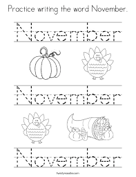 Small Picture Practice writing the word November Coloring Page Twisty Noodle