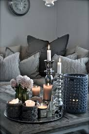 grey rectangle rustic wood coffee table decor ideas with round silver metal tray designs