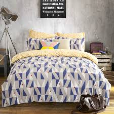 queen king size geometric bedding sets yellow white bed sheets blue white gray