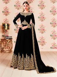 Designer Gown In Black Colour Black Colour Party Wear Designer Santoon Suit