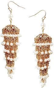 talullah tu faux pearl statet chandelier earrings gold