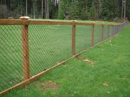 chain link fence post installation. Chain Link Fence With Cedar Wood Trim Post Installation