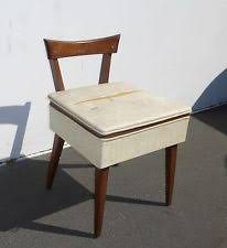 chair with storage. vintage danish mid century modern wood sewing chair w seat storage peg legs chair with