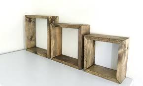 floating box shelf rustic shelves set of 3 square wood open bq
