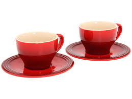 le creuset cappuccino cup set in cherry red  pg