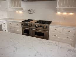simple kitchen with bianco carrara marble countertops half moon cup