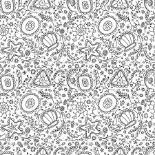 handmade seamless pattern or background with abstract protozoa or abstract plankton in black white for coloring page or relax coloring book stock vector