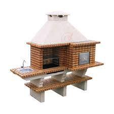 outdoor bbq with pizza oven grill and sink en barbecue