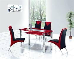 black dining table chairs room with red