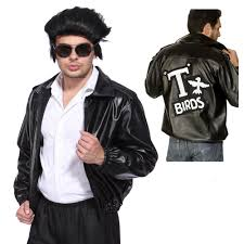 details about summer men rockabilly t bird grease black leather jacket costume cosplay