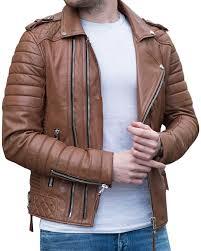 genuine leather jacket brown slim fit motorcycle jacket