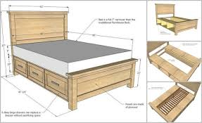 storage bed plans. DIY Farmhouse Storage Bed With Drawers Plans