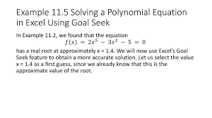 using excel to solve equations example 115 solving a polynomial equation in excel using goal seek