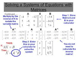 using matrices to solve a 3 variable system ppt