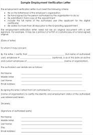Sample Proof Of Employment Letter Employment Verification Letter 8 Samples To Choose From