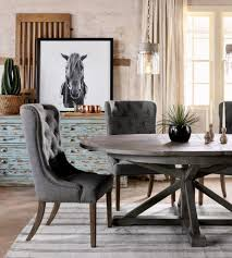 rustic gray dining table. Grey Tufted Chairs And Rustic Gray Round Table For Country Styled Dining Room Ideas With Horse Painting