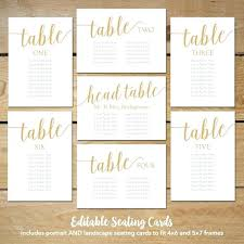 Wedding Seating Plan Cards Template Editable Seating Cards