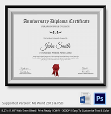 diploma certificate word pdf psd eps  anniversary diploma certificate psd