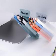 2018 diy creative pencil pen holder triangle square artifact computer monitor can stick storage box case desk organizer office accessories from brandi