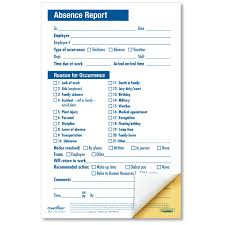 Absence Form Employee Absence Report Compact 2 Part Disciplinary Forms