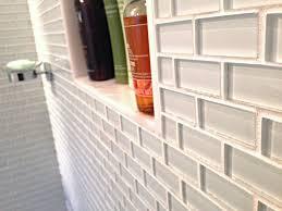 thumb white mini glass subway tile shower walls
