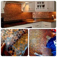 pennies kitchen backsplash