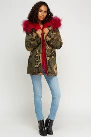 k zell faux fur camouflage parka jacket limited edition designer stock