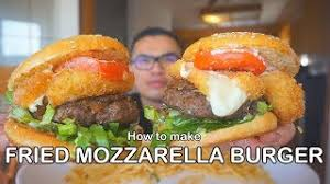 2 jars of your favorite tomato sauce 1 lb ground turkey) 1 cup breadcrumbs 2 cups breadcrumbs 1 egg salt & pepper to taste garlic powder to taste butter or margarine olive or veggie oil 1 cup shredded mozzarella cheese 1/2 cup grated or shredded parmesan cheese. How To Make A Fried Mozzarella Burger Youtube
