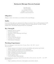 Summary Resume Example Example Of Restaurant Manager Resume Fast
