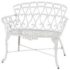 antique victorian cast aluminum patio dining loveseat bench white heart