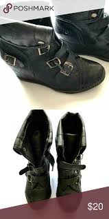 Black Wedge Leather Booties Awesome Wedges Black Ankle Boots