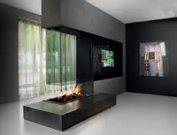 gas fireplace contemporary open hearth 3 sided 73