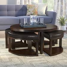 round coffee table with stools