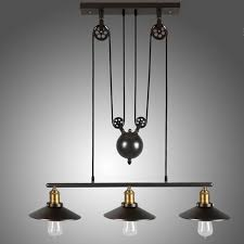 vintage pendant lamp iron pulley light bar restaurant home decoration e27 edison light fixture