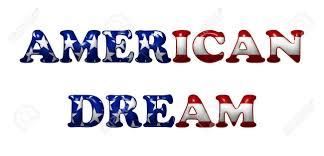 american flag word art word american dream in 3d flag colors of usa isolated on white