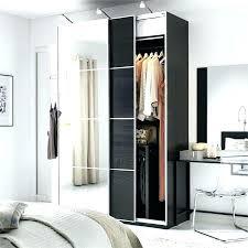 closet wardrobe with mirrored sliding door in black brown corner instructions ikea pax doors mirror inst