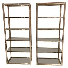 pair faux bamboo brass etageres glass display shelves hollywood regency metal for at 1stdibs