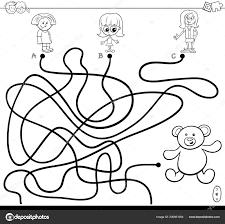 Bianco Nero Del Fumetto Percorsi Labirinto Gioco Puzzle Attività Con