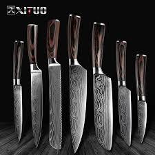 High quality utility <b>Chef Knives laser Damascus</b> steel Santoku knife ...
