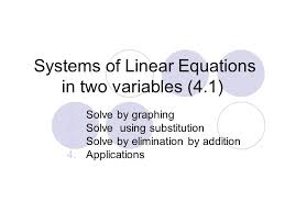 systems of linear equations in two variables 4 1
